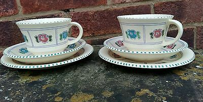 Honiton Pottery Handpainted  Tea  Cup Trios x 2 Vintage