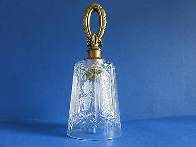 "c.1950 Vintage Decorative 6.5"" Tea Dinner ~ CRYSTAL ~ Bell w/ BRASS Fleur-de-lis"