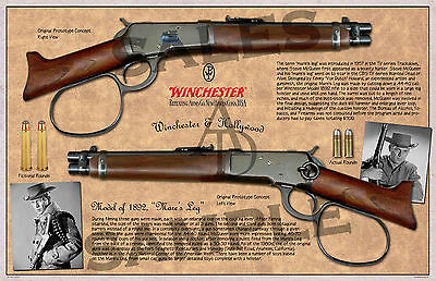 "Winchester ""Mare's Leg"" Lever Action Model of 1892 Poster 11 x 17"