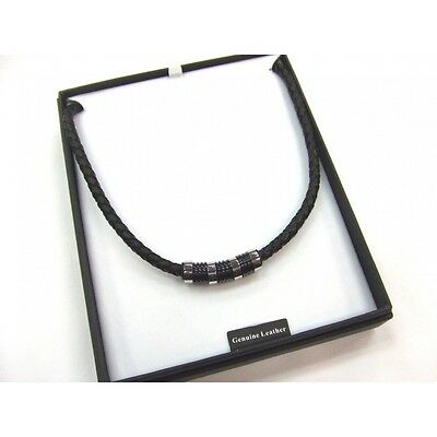 MENS Black LEATHER and Stainless Steel NECKLACE in Gift Box A