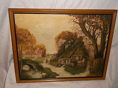 Daisy Randolph vintage oil on board Painting LITTLE COTTAGE Framed art