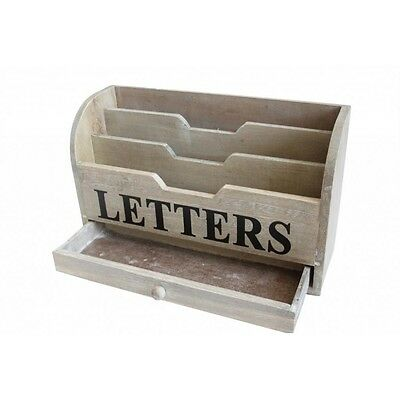 GISELA GRAHAM Shabby Chic NATURAL WOODEN LETTER RACK with DRAWER Home & Kitchen
