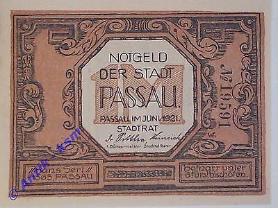 A TOP Notgeld Passau , 1 Mark mit Kn  Papier sämisch ,german emergency money unc