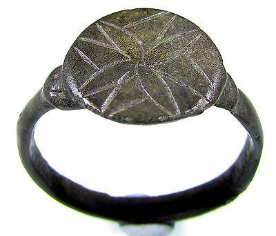 Superb Medieval Knight's Era Bronze Ring With Cross Motif-Wearable-2080