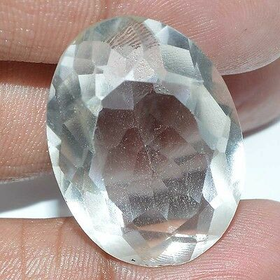 36.90 Ct. FACETED CHRYSTAL QUARTZ OVAL SHAPE LOOSE LOOSE GEMSTONE S-27X20X12MM