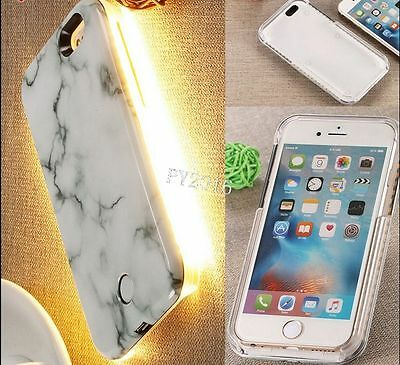 3D Marble Pattern LED Light Up Selfie Phone Case Cover for iPhone5 5S 8 8Plus 7P