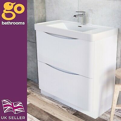 Eaton 900mm Floor Mounted Bathroom Vanity Unit and Storage in Gloss White