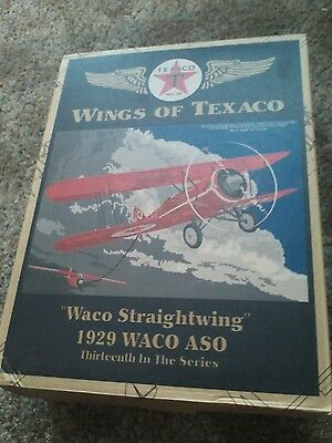 Ertl Collectible Texaco 1929 Waco Straightwing Die Cast Metal Coin Bank - Red