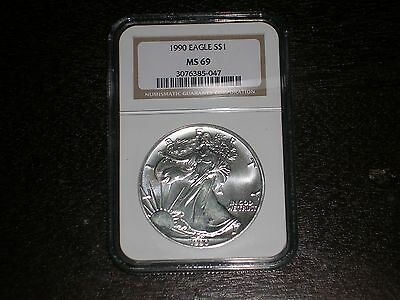 1990 $1 Silver Eagle NGC MS69 Gold Label LOOK