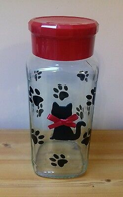 Cat Pet Glass Storage Biscuit Treat Jar Great Christmas Gift For A Special Cat!!