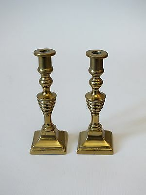 """Antique  LITTLE PAIR OF VINTAGE BRASS CANDLESTICKS  FOR SMALL CANDLES 3.5"""" Tall"""