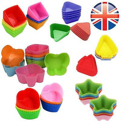 *UK Seller* 12X Silicone Various Shapes Cup Cake Muffin Cupcake Cases Baking