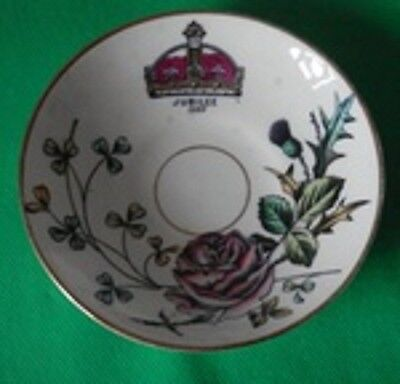 Queen Victoria JUBILEE 1887 Gilt Edged Saucer COMMEMORATIVE COLLECTABLE