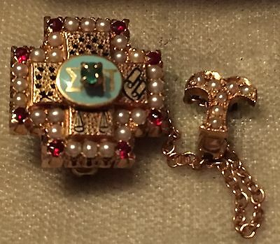 1921 Sigma Pi Fraternity Pin - UCLA - Upsion chapter - Gold Rubies and Pearls
