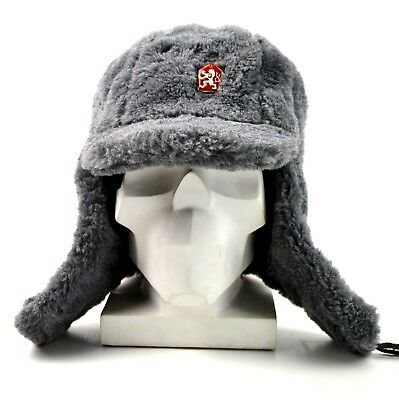 Genuine Czech army winter cap Ushanka grey fur extremely warm hat
