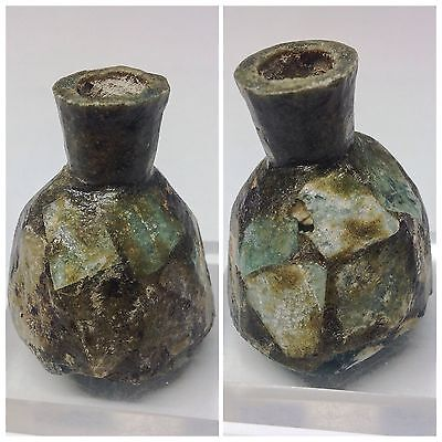 Ancient Roman Green Ribbed Glass bottle 3rd Century A.D. stunning unique item
