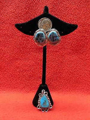 Vintage Navaho Sterling 925 Pierced Turquoise Earrings and Necklace/Slide