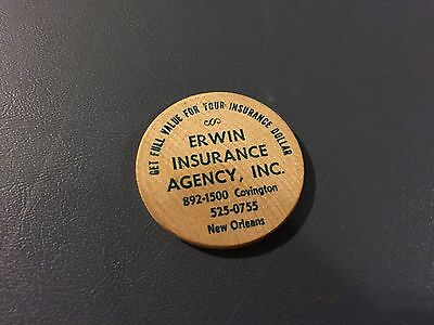 RARE Erwin Insurance Agency New Orleans LA Wooden Nickel Used EX