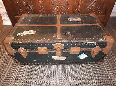 Vintage Edwards steamer trunk large storage box chest retro coffee table