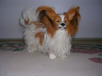 Realistic Lifelike Papillon Dog Rabbit/Goat Fur Animal D754BR