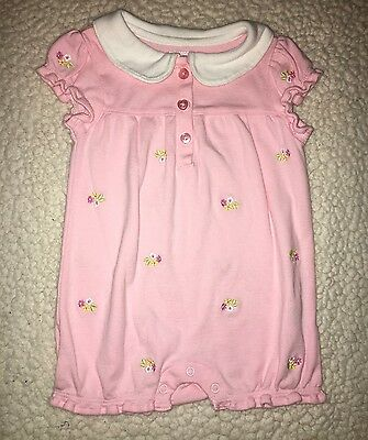 Gymboree Pink Floral One Piece Romper Outfit Size 0-3 Months Beautiful!