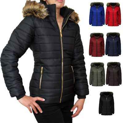 New Ladies Hooded Quilted Puffer Bubble Fur Parka Warm Thick Womens Jacket Coat