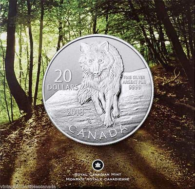 "2013 Canada $20 Wolf Silver Coin (99.99% Pure Silver) - ""New"""