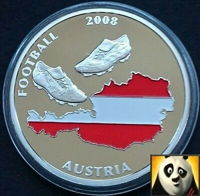 2008 40mm UEFA EURO Football Championship With Coloured Austria Map Coin Medal