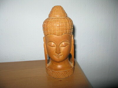 Small Carved wooden head of Asian Person.  Unboxed GC