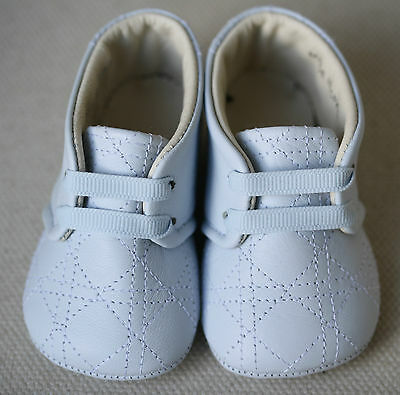 Baby Dior Blue Leather Slippers Shoes Eu 18 Uk 2