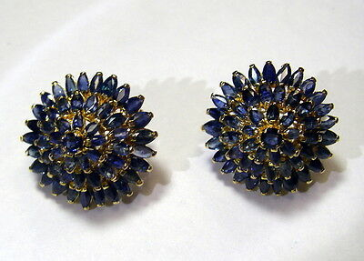 18K Yellow Gold Vintage 102 Blue Sapphire Marquise Cluster Earrings, Omega backs