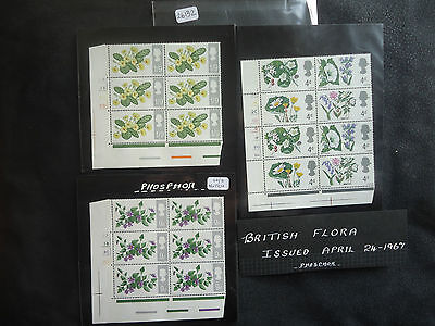 Great Britain 1967 Flowers (Cylinder Blocks Set) (PHOS) (Notch Flaw 9d 20/2) MNH