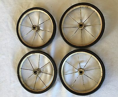 Vintage Lot Of 4 - Baby Carriage Pram Buggy Wagon Wheels 8 Spokes