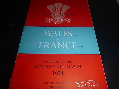 Wales V France Rugby Programme  Cardiff 1954