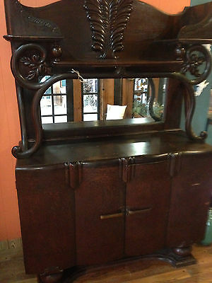 English Antique Art Deco Oak Sideboard / Buffet / Bar / Cabinet
