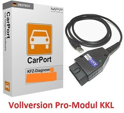 CarPort Diagnosegerät Interface + Software Pro-Modul KKL Audi VW Skoda Seat