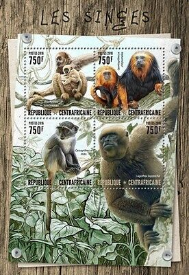 Z08 CA16804a CENTRAL AFRICA 2016 Monkeys MNH