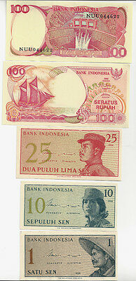 5 Indonesia Uncirculated Notes,  1,10, 25 And 2, 100 Rupiah Notes