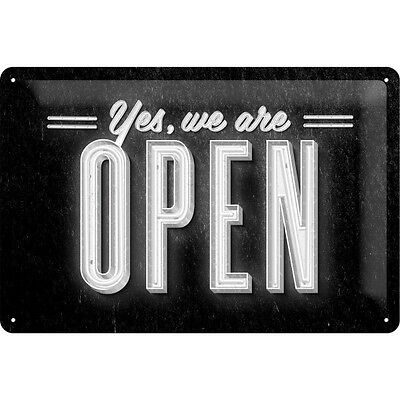 Yes We Are Open Embossed Vintage Retro Metal Tin Sign Home Bar Pub Wall Decor