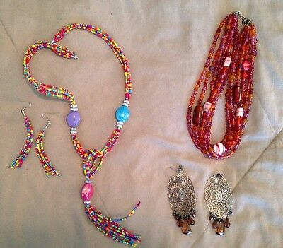 Women's Jewelry Lot Costume Necklaces And Earrings