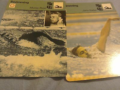 John Naber and Murray Rose new a pair of swimmng legends factcards