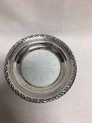 "Amston Sterling Cut Crystal Starburst Large Coaster 6 5/8"" Rope Border"