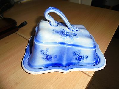 Collectors blue and white cheese dish butter dish with lid