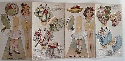"""RARE"" Vintage Advertising for ""Jayne's Tonic Vermifuge"" Paper Dolls   *"