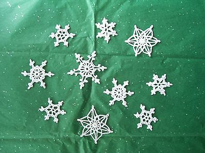 10 New Hand Crocheted White Glittery Snowflake Ornaments