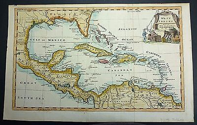 c1750-1760s Jefferys MAP of WEST INDIES, CARIBBEAN, MEXICO, FLORIDA Hand Colored