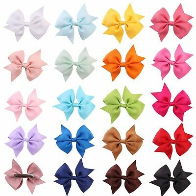 "20X 4"" Baby Handmade Bow Hair Clip Alligator Clips Girls Ribbon Kids Accessories"