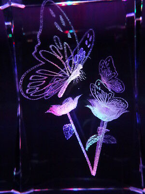 Glass laser-etched hologram light ornament -butterflies and flowers. 11cm tall.