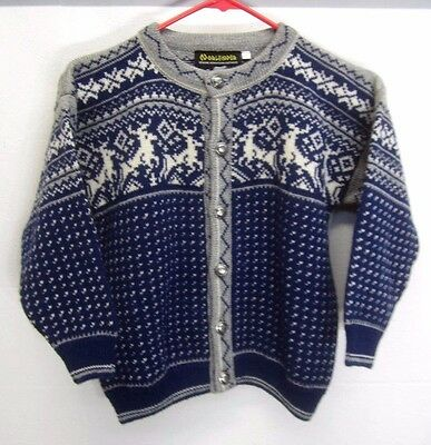 EUC Norlender Nordic Sweater button front cardigan Kids' sz 6 made in Norway vtg