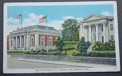 Norwich CT View of Post Office & B.P.O. Elks #430